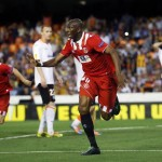 Sevilla's Mbia celebrates after scoring a goal against Valencia during their Europa League semi-final second leg soccer match at Mestalla stadium in Valencia